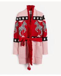 Hayley Menzies Red Carousel Cotton Jacquard Cardigan