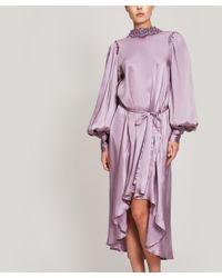 Ann Demeulemeester Multicolor Oversized Draped Silk Maxi-dress