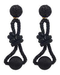 Oscar de la Renta Black Beaded Knot Clip-on Drop Earrings
