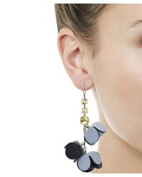 Marni Blue Leather And Crystal Earrings
