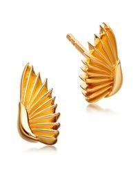 Astley Clarke | Metallic Gold-plated Mini Angel Wings Biography Stud Earrings | Lyst