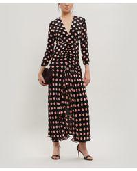 Rixo Black Rose Open Back Silk Maxi Dress