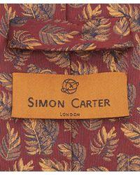 Simon Carter - Red West End Bracken Leaves Silk Tie for Men - Lyst