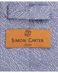 Simon Carter - Blue West End Autumn Leaves Silk Tie for Men - Lyst