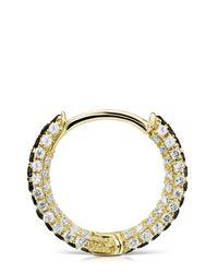 """Maria Tash Metallic 5/16"""" Black And White Diamond Five Row Pavé Hoop Earring"""