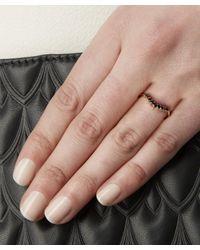 Anna Sheffield - Metallic Black Diamond And Rose Gold Tiara Curve Ring - Lyst