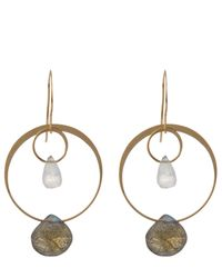 Melissa Joy Manning - Metallic Gold Rainbow Moonstone And Labradorite Two Drop Earrings - Lyst