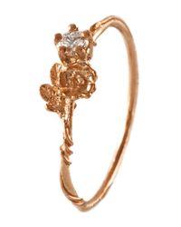 Alex Monroe - Multicolor 18ct Rose Gold Rosa Noisette Diamond Ring - Lyst