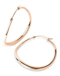 Dinny Hall | Metallic Large Rose Gold-plated Wave Hoop Earrings | Lyst
