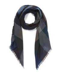Paul Smith Blue Herringbone Wool Scarf for men