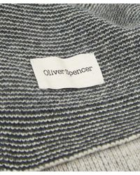 Oliver Spencer - Blue Three Stripe Wool Scarf for Men - Lyst