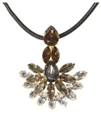 Marni - Metallic Strass Crystal Necklace With Leather Tie - Lyst