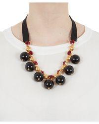 Marni - Black Strass Ball Short Tie Ribbon Necklace - Lyst