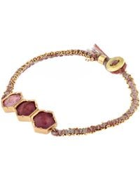 Brooke Gregson - Multicolor Gold Triple Hexagonal Pink Tourmaline Silk Bracelet - Lyst