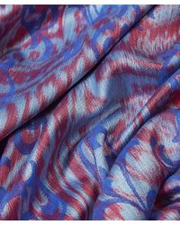 Liberty Purple Hera Feather-print Cashmere & Silk Square Scarf
