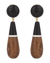 Marni | Black Wooden Drop Earrings | Lyst