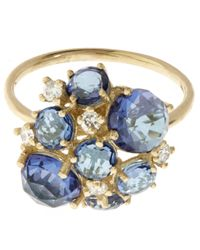 Suzanne Kalan | Metallic Gold English Blue Topaz Cluster Ring | Lyst
