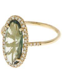 Suzanne Kalan - Metallic Gold Green Topaz And White Diamond Ring - Lyst