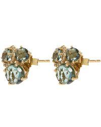 Suzanne Kalan - Metallic Gold White Diamond And Green Envy Topaz Earrings - Lyst