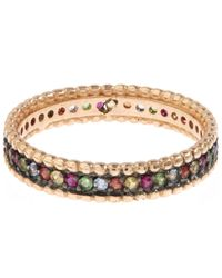 Kismet by Milka Metallic Rose Gold Multicolour Eternity Ring