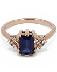 Anna Sheffield | Multicolor Rose Gold Bea Blue Sapphire Arrow Detail Ring | Lyst