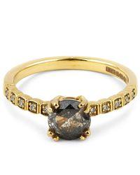 Anna Sheffield | Metallic Gold Grey Diamond Tiny Wheat Ring | Lyst