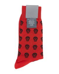 Alexander McQueen Red Skull Socks for men