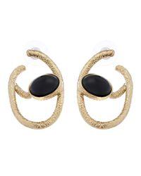 Oscar de la Renta   Metallic Chain Link Cabochon Earrings   Lyst