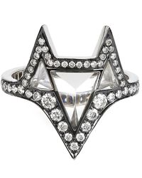 Noor Fares | Gray Grey Gold Hava Ring With White Diamonds And Topaz | Lyst