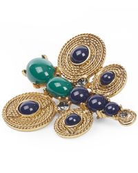Oscar de la Renta | Green Textured Rope Cabochon And Crystal Butterfly Brooch | Lyst