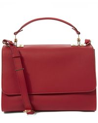 Sophie Hulme Red Medium Parker Calfskin Shoulder Bag