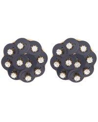 Lele Sadoughi   Black Crystal Poppy Clip-on Earrings   Lyst