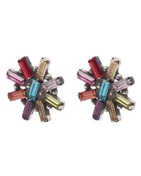 DANNIJO - Metallic Oxidised Silver Amethyst Starburst Stud Earrings - Lyst