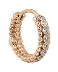 Kismet by Milka | Metallic Rose Gold Beaded White Diamond Single Tiny Hoop Earring | Lyst