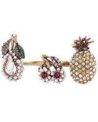 Gucci - Metallic Crystal Fruit Multi-finger Open Knuckle Ring - Lyst