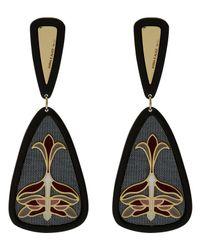 Anna E Alex | Gray Gold-plated Enamel Floral Silk Drop Earrings | Lyst