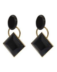 Marni - Black Metal And Horn Clip-on Earrings - Lyst