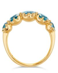 Dinny Hall - Metallic Elyhara Gold Tapering Five-stone Aquamarine Ring - Lyst