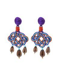 Anna E Alex - Purple Lamé Silk Passementerie Lanterna Stone Drop Earrings - Lyst