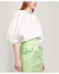 Rejina Pyo Green Rowan Puff-sleeve Woven Blouse