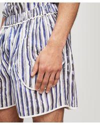 Daniel W. Fletcher White Slim Stripe Pocket Shorts for men
