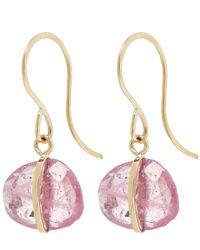 Melissa Joy Manning - Metallic Gold Single Gemstone Drop Pink Sapphire Earrings - Lyst