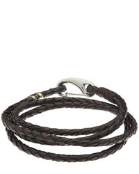 Paul Smith - Brown Woven Leather Wrap Bracelet - Lyst