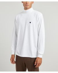 Needles White Papillon Logo-embroidered Cotton Turtle-neck Top for men
