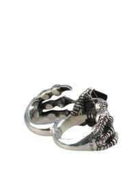 KD2024 - Metallic D-claw Onyx And Silver Double Ring - Lyst