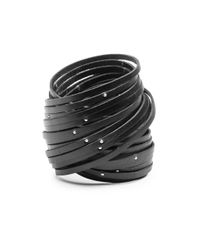 Linea Pelle | Black Double Wrap Sliced Studded Bracelet | Lyst