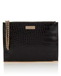 Lipsy | Black Mock Croc Clutch Bag | Lyst