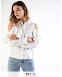 Glamorous | White Petite Printed Frill Cold Shoulder Blouse | Lyst