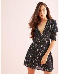 Fashion Union | Black Wrap Front Frill Dress | Lyst