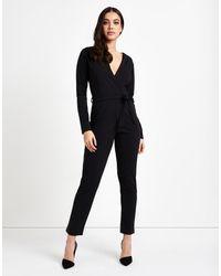 Lipsy   Black Wrap Long Sleeve Jumpsuit   Lyst
